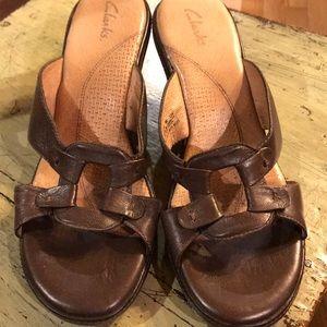 Women's Clark brown bronze wedge heal sandals